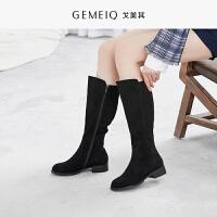 戈美其冬新款侧拉链保暖加绒长筒靴子女粗跟优雅时装鞋女靴子