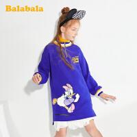【迪士尼IP款】巴拉巴拉女童连衣裙2020春新款儿童公主裙加绒裙子