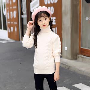 百槿 冬季甜美女童高领保暖纯色针织衫 中大童偏厚中弹高领保暖针织衫