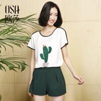 欧莎2017夏装新款真两件套印花T恤+休闲短裤 套装S117B15011