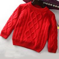 男童毛衣套头儿童秋款5加绒6加厚7中大童9保暖12潮8男孩10-15岁 红色 加绒加厚