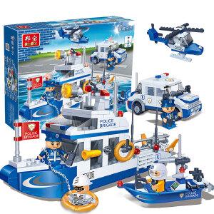 【当当自营】邦宝益智积木儿童小颗粒男孩玩具生日礼物亲子城市水上巡警8342