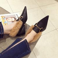 兔毛毛高跟鞋子女2018新款网红女尖头马蹄扣乐福鞋粗跟坡跟瓢鞋子 -6黑色 5.5cm