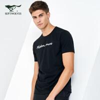 七匹狼短袖T恤男士2019夏季款青年休闲潮流时尚印花体恤男装宽松