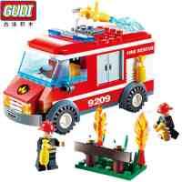 古迪积木拼装警察局城市系列消防总局轻型消防车益智火警玩具