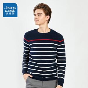 [超级大牌日每满299-150]真维斯针织衫2018冬装新款男士纯棉加绒加厚圆领线衫条纹修身毛衣
