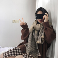 围巾女冬季长款加厚韩版百搭毛线针织仿羊绒男学生软妹情侣大围脖 浅卡色