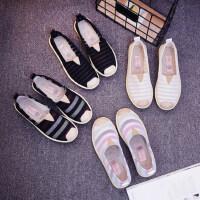 韩版帆布鞋女士老北京布鞋女 新款女士平底懒人鞋 百搭一脚蹬休闲鞋子