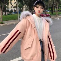 冬季韩版学院风学生大毛领棉衣中长款宽松夹棉加厚连帽外套女