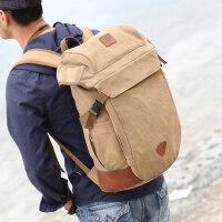 时尚帆布背包男士双肩包大容量户外旅行包休闲电脑包