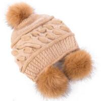 毛线帽女冬天加绒保暖帽气质毛球帽子秋冬季加厚护耳针织帽