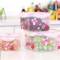 双庆保鲜盒塑料保鲜盒密封盒四面卡扣微波炉可用 方形花瓣