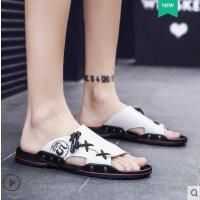 户外新品皮拖鞋男潮流韩版室外穿沙滩鞋男士凉鞋网红时尚防滑新款个性一字拖男