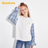 巴拉巴拉童装儿童t恤女童打底衫春装2020新款中大童拼接格纹上衣