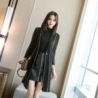 卡茗语风衣女中长款秋季2018新款韩版名媛气质条纹修身外套风衣