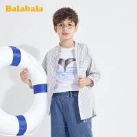 巴拉巴拉童装男大童短袖衬衫中大童条纹上衣夏装儿童简约百搭时尚