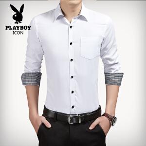 花花公子男士春季新款韩版衬衫流行青年大码时尚免烫长袖男装衬衣