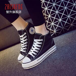 2017春季内增高帆布鞋女韩版潮厚底松糕女鞋高帮板鞋黑色帆布鞋
