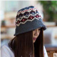 女帽 保暖帽 毛钱帽 MC-209 韩版提花女士木耳边礼帽 针织毛线帽