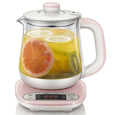 小熊(Bear)养生壶 全自动加厚玻璃 电热烧水花茶壶煮茶器 YSH-A08U6(粉色)8大精煮功能 预约定时 防干烧 0.8升容量