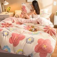 加厚珊瑚绒四件套双面绒被套床单学生宿舍床上三件套