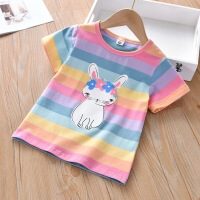 斯提妮儿童短袖T恤2021新款夏季半袖宝宝上衣女童装舒适条纹女童打底衫【支持礼品卡】