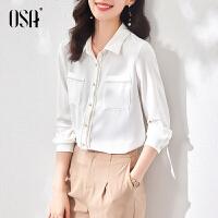 OSA白色长袖衬衫女设计感小众气质职业衬衣2021新款春秋别致上衣