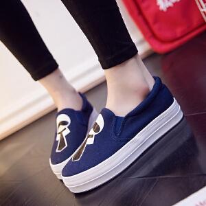 2018春季新款套脚帆布鞋卡通休闲板鞋韩版一脚蹬懒人鞋厚底松糕单鞋女学生布鞋