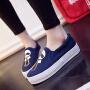 2019春季新款套脚帆布鞋卡通休闲板鞋韩版一脚蹬懒人鞋厚底松糕单鞋女学生布鞋
