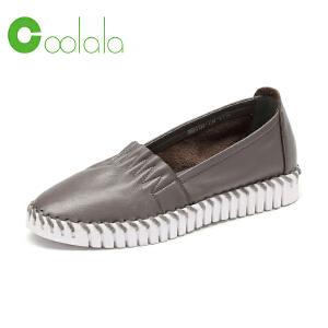 红蜻蜓coolala女鞋 2017春休闲渔夫女单鞋平底舒适套脚韩版休闲鞋