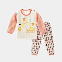 加绒加厚内衣套装婴幼儿抓绒两件套宝宝秋衣服