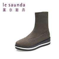 莱尔斯丹女鞋厚底松糕弹力女靴低筒短靴8T51530