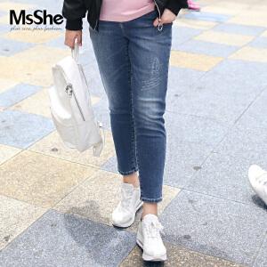 MsShe加大码女装2017新款冬装弹力修身印花长裤牛仔裤M1740364