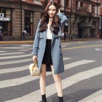 风衣女中长款韩版秋季2018新款女士时尚小个子外套修身收腰气质