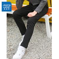 真维斯休闲裤男冬装新款时尚轻商务弹力修身小脚裤黑色长裤潮