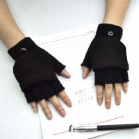 户外翻盖手套韩版冬季防寒保暖半指学生写字防滑半截露指针织手袜 均码