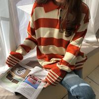 2018春季女装新款韩版复古学院风横条纹polo领套头毛线针织衫