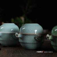 青花瓷快客杯 青瓷一壶一杯 手抓壶盖碗茶壶手把壶 陶瓷旅行茶具