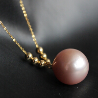 18K简约爱迪生紫粉珍珠项链