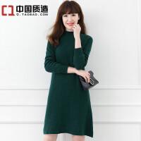 秋冬新款女装中长款纯山羊绒衫休闲长袖保暖加厚针织套头毛衣