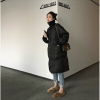 2018秋冬新款韩版时尚加厚过膝中长款羽绒服女宽松90白鸭绒外套潮 黑色