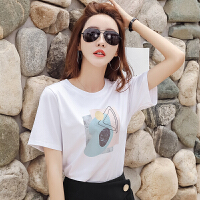 【6.15-20/领券满200减40】Coolmuch女士夏季宽松透气棉质圆领印花短袖T恤衫JW5068