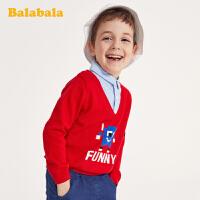巴拉巴拉宝宝毛衣儿童打底衫男童春装2020新款纯棉假两件针织上衣