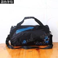 春季新款大容量手提旅行包运动包男单肩斜挎包健身包短途行李包袋 蓝色 蓝色字母 中