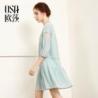 欧莎2017夏装新款女装宽松拼接蕾丝连衣裙B13088