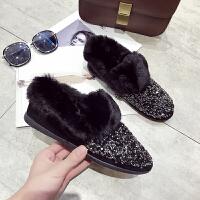 2018冬季加绒亮片雪地靴女短筒毛毛平底加厚保暖棉鞋豆豆鞋包子靴