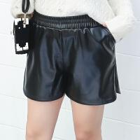 韩版时尚加肥加大码胖MM松紧腰显瘦PU皮裤短裤热裤靴裤女冬季新款