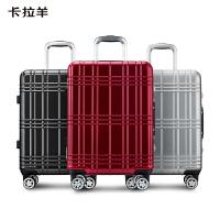 卡拉羊拉杆箱20英寸24英寸万向防刮花铝框箱旅游硬箱行李箱男女大空间旅行箱CX8629