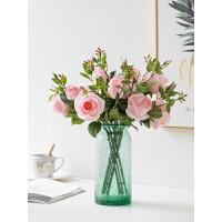 花屏仿真玫瑰花束装饰摆设客厅家居卧室餐桌面摆件花瓶插花花艺假花 一束7头玫瑰