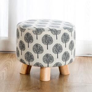 亿家达换鞋凳现代简约小矮凳实木圆凳创意门口穿鞋凳子布艺沙发凳
